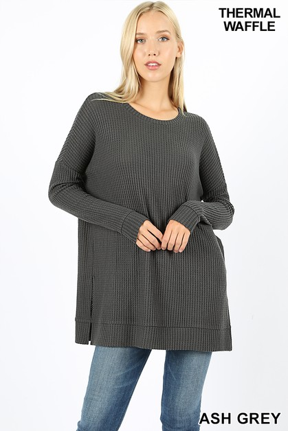 BRUSHED THERMAL WAFFLE SWEATER - orangeshine.com