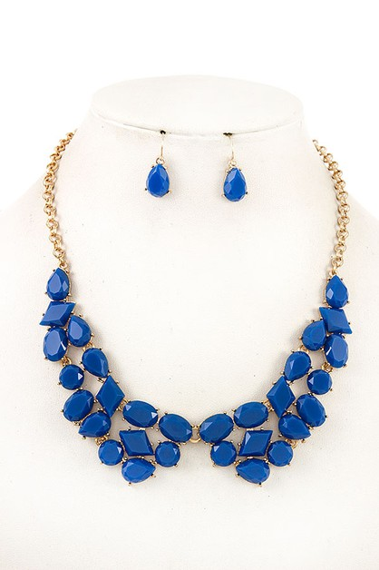 FACETED STONE BIB NECKLACE SET  APPR - orangeshine.com