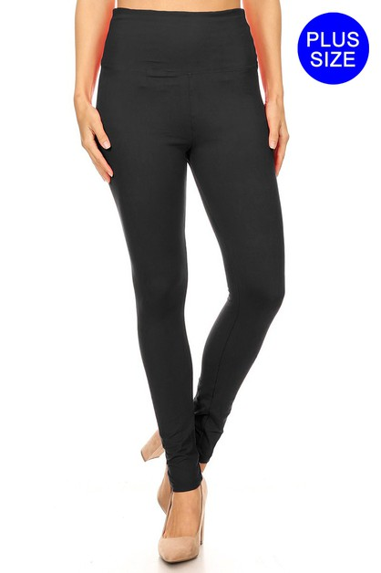 PLUS SIZE SOLID LEGGINGS WITH EXTRA  - orangeshine.com