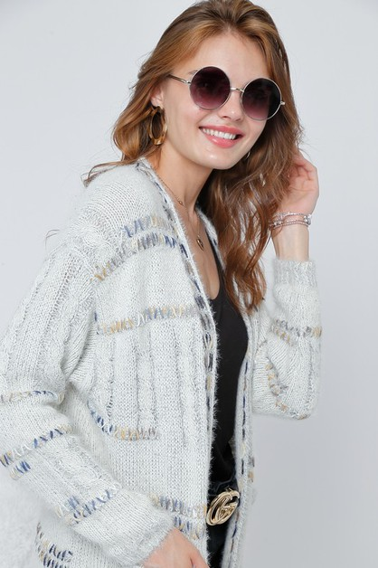 Cardigan knit top with pockets - orangeshine.com