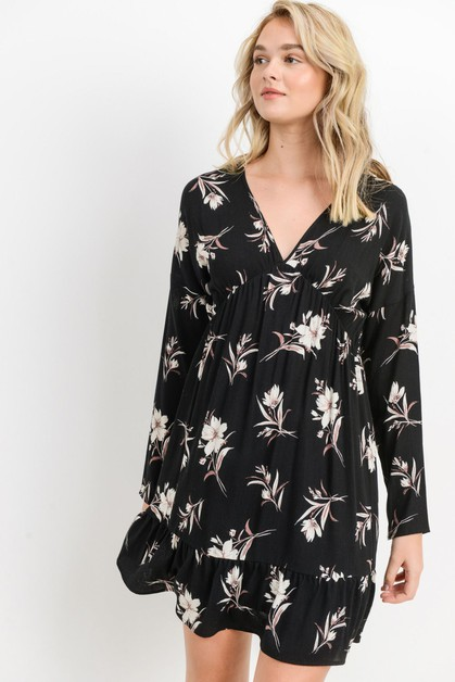 Floral Print Vneck Long Sleeve Dress - orangeshine.com