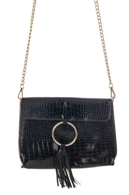 Embossed Crocodile Crossbody Bag - orangeshine.com