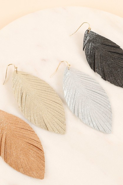 Metallic PU Leather Feather Earrings - orangeshine.com