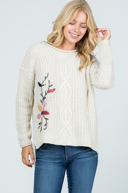 Flower Embroidered Ribbed Knit Sweat - orangeshine.com