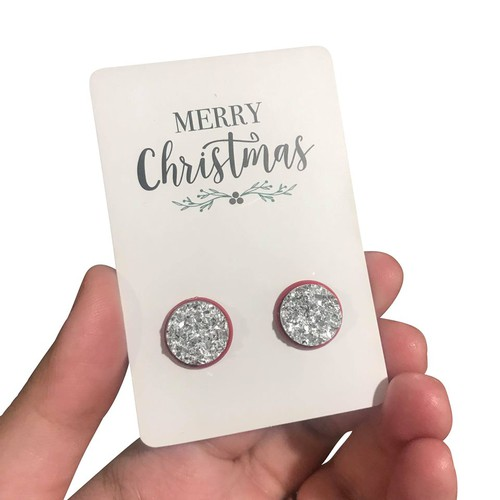 Silver Druzy - Christmas Earrings - orangeshine.com