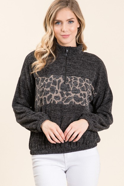 ANIMAL KNIT PRINT ZIPPER TOP - orangeshine.com