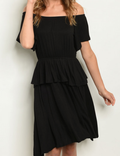 Off Shoulder Peplum Dress - orangeshine.com