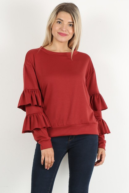 ruffle sleeve round top - orangeshine.com