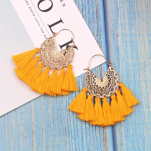 Boho Big Metal tassel earrings - orangeshine.com