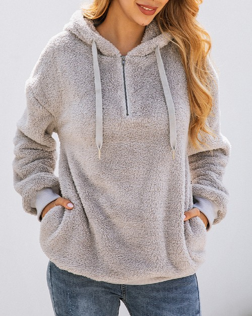 Warm Fuzzy Hooded  Zip Up Sweatshirt - orangeshine.com