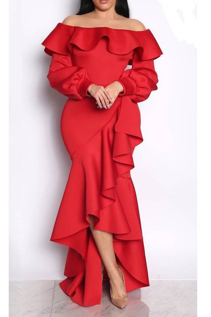 party dresses off shoulder ruffle  - orangeshine.com