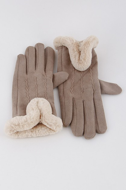 Fur trim soft gloves 9HCC - orangeshine.com