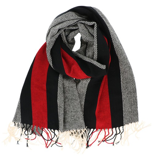 Red and Black Striped Oblong Scarf - orangeshine.com