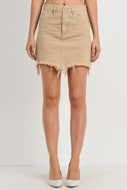 Frayed Hem Color Skirt - orangeshine.com