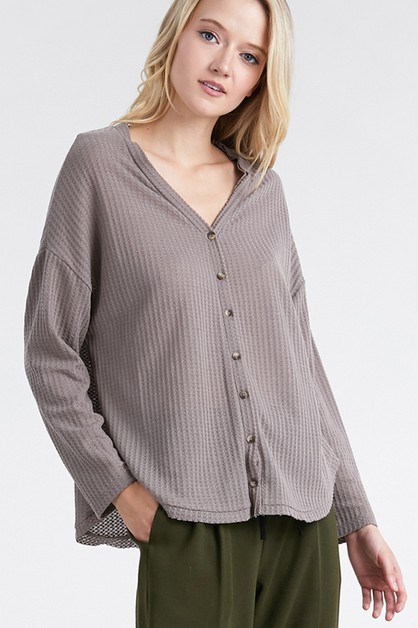 Button down waffle knit top - orangeshine.com