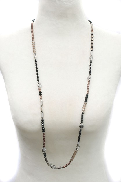 BEAD METAL LONG NECKLACE  - orangeshine.com