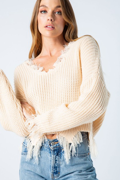 DISTRESSED V-NECK SWEATER	 - orangeshine.com