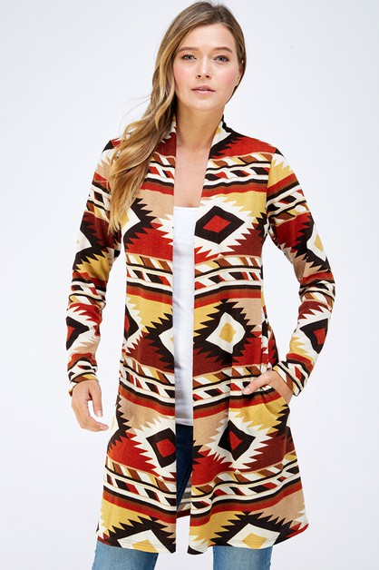 AZTEC KNIT SWEATER POCKET CARDIGAN - orangeshine.com