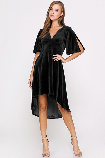 Flutter Sleeve Velvet High Low Dress - orangeshine.com