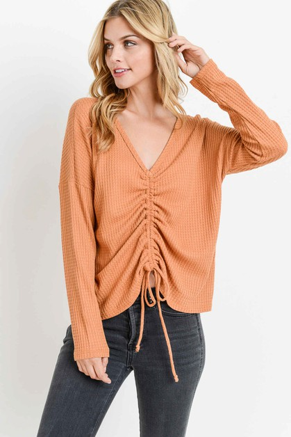 Waffle Ruched V-neck Long Sleeves - orangeshine.com