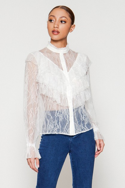 LACE BLOUSE W MOCK NECK RUFFLE TOP - orangeshine.com