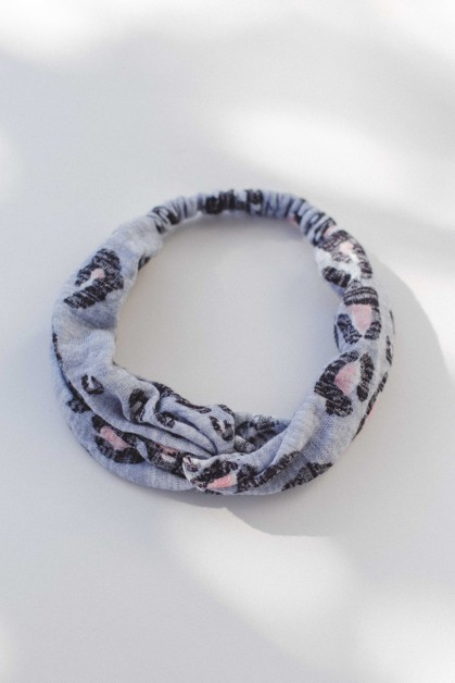 Blue Leopard Cotton Headband - orangeshine.com