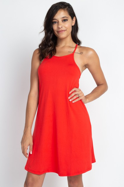 Halter Neck Cami Dress - orangeshine.com