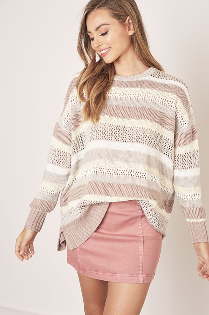 MULTI STRIPE SWEATER - orangeshine.com