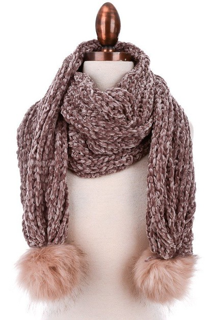 Knitted Faux Fur Scarf - orangeshine.com