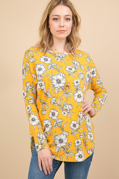 FLORAL PRINT LOOSE TOP - orangeshine.com