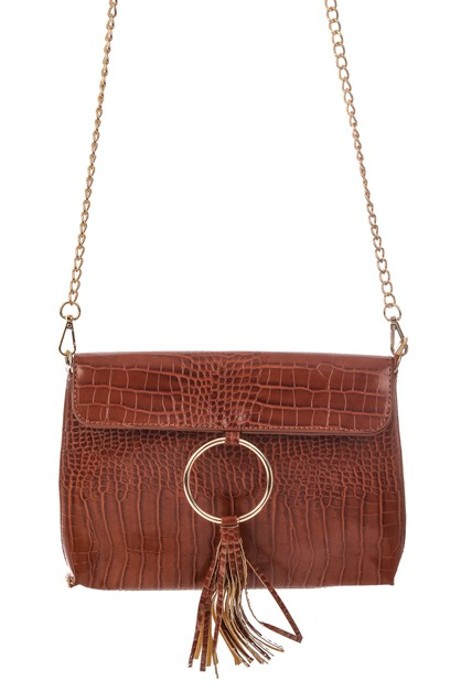 Faux Alligator Ring Tassel Hand Bag - orangeshine.com
