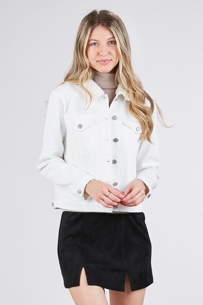 JACKET WITH SHERPA COLLAR CONTRAST - orangeshine.com