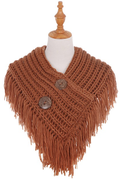 Button Fringe Scarf - orangeshine.com
