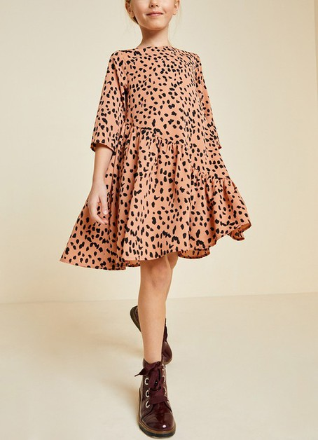 Asymmetrical Ruffle Dot Swing Dress - orangeshine.com