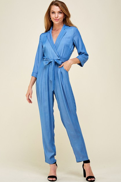 Denim belted jumpsuit - orangeshine.com