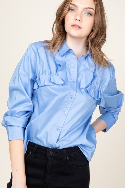 Ruffle detail shirt - orangeshine.com
