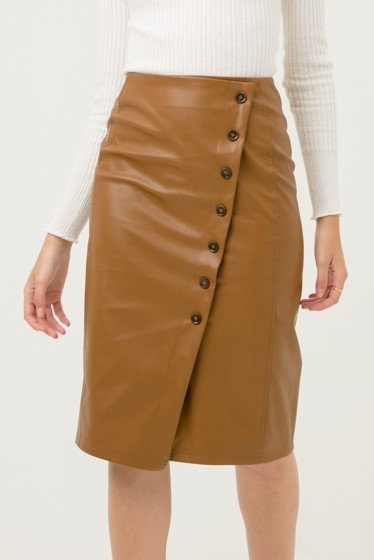 Faux Leather Midi Skirt with Buttons - orangeshine.com