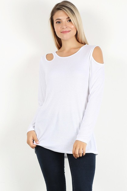 solid cutout long sleeve top - orangeshine.com