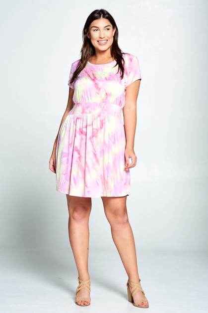 SHORT SLEEVE TIE DYE DRESS - orangeshine.com