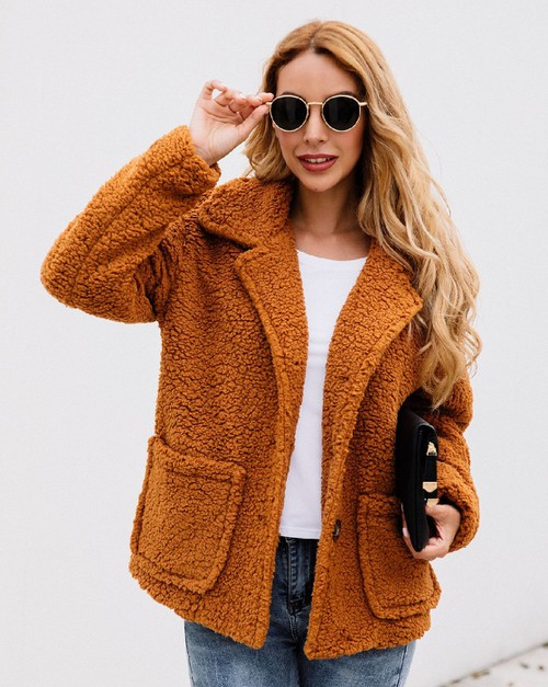 Soft Fuzzy Fleece Open Front Coat - orangeshine.com