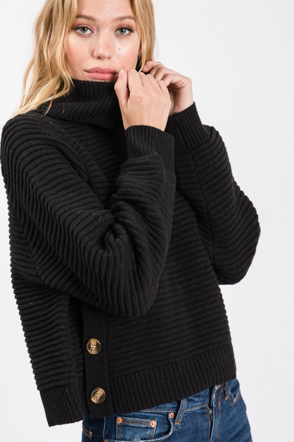TURTLE NECK BUTTON TRIM SWEATER - orangeshine.com