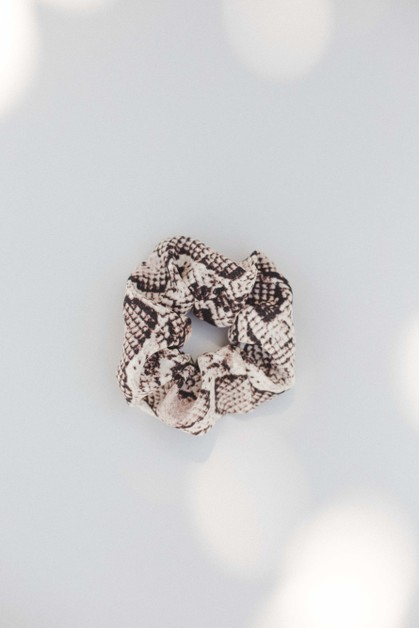 Yellow Snake Print Hair Scrunchie - orangeshine.com