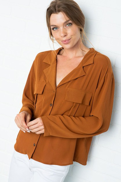 WOVEN COLLARED BUTTON DOWN BLOUSE - orangeshine.com