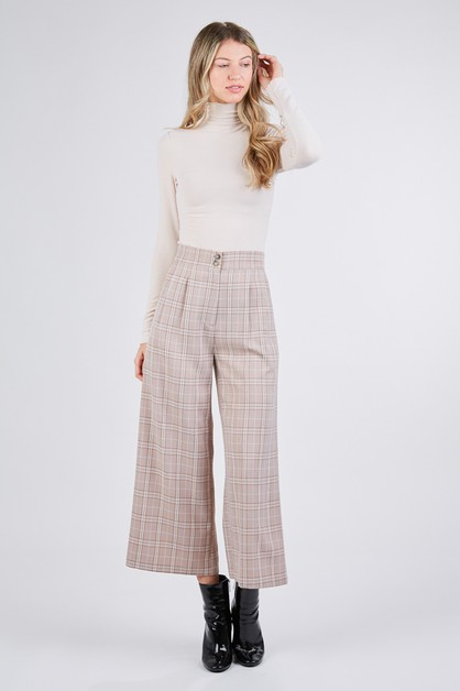 PLAID WIDE LEG PANTS WITH POCKETS - orangeshine.com