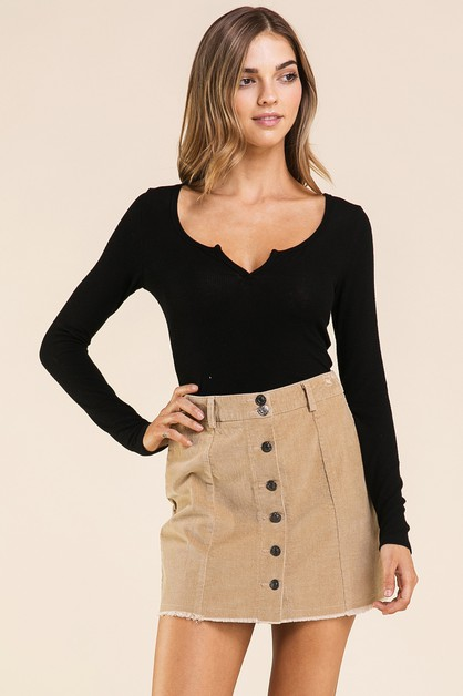 CORDUROY BUTTON DOWN SKIRT  - orangeshine.com