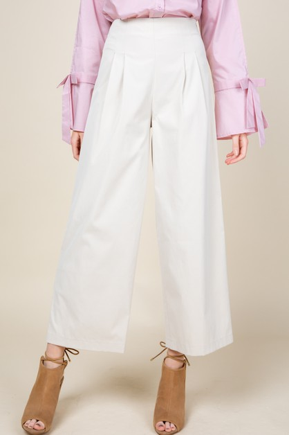 High waist pin tuck wide pants - orangeshine.com