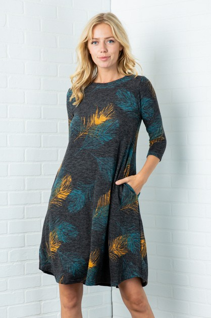 Leaf Print Midi Dress with Pockets - orangeshine.com