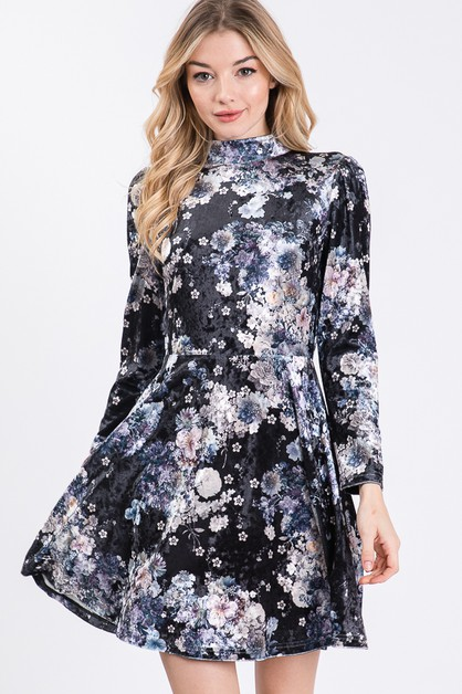 UNIQUE FLORAL PRINTED VELVET DRESS - orangeshine.com