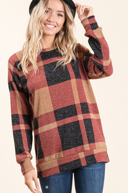 CASUAL LONG SLEEVE PLAID TUNIC - orangeshine.com