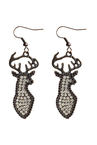 Crystal Deer Earrings  - orangeshine.com